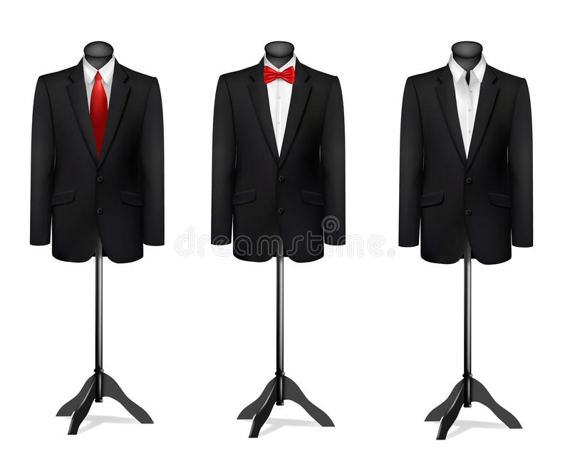 Three different suits on mannequins. Vector royalty free illustration