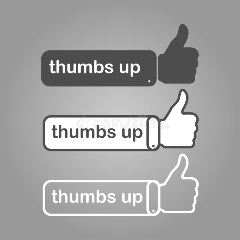 three different thumbs up likes with writing stock illustration