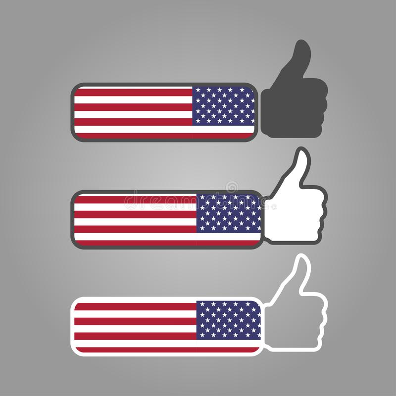 three different thumbs up likes with writing vector illustration
