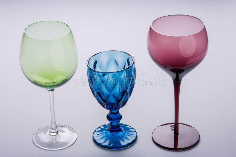 Three different types of glasses. photo of empty glasses and its reflections. royalty free stock photography
