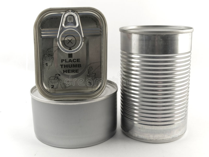 Three Different Types of Tin Can for Food White Ba