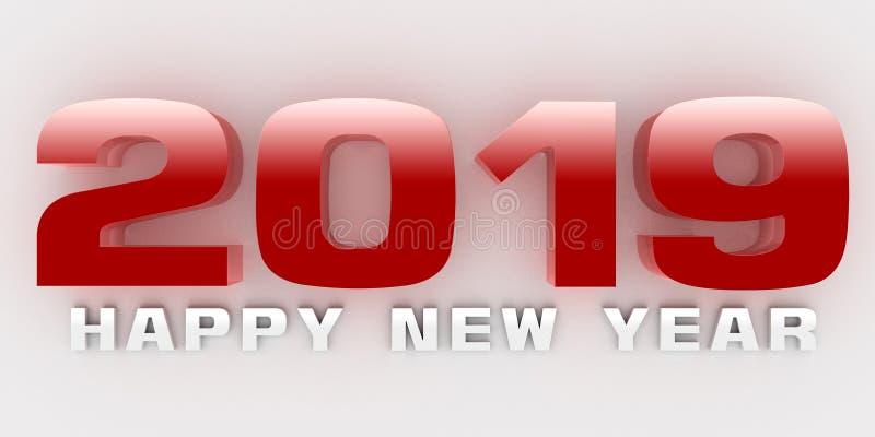 Three-dimensiona de 2019 bonnes années illustration de vecteur
