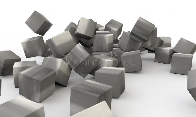 Three dimensional abstract object concrete wall royalty free illustration