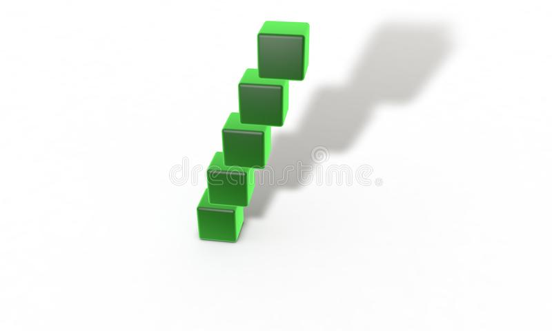 Three dimensional abstract object green wall stock illustration