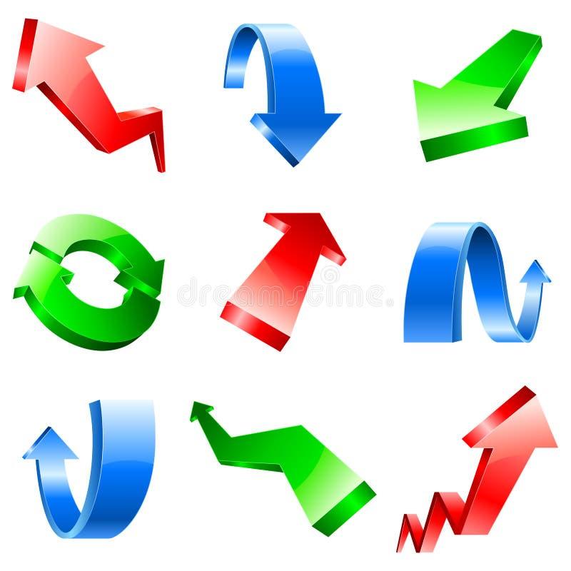 Download Three-dimensional arrows. stock vector. Image of color - 10570136