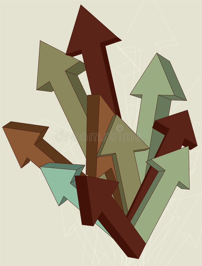 Download Three Dimensional Arrows stock vector. Image of beige - 12267341