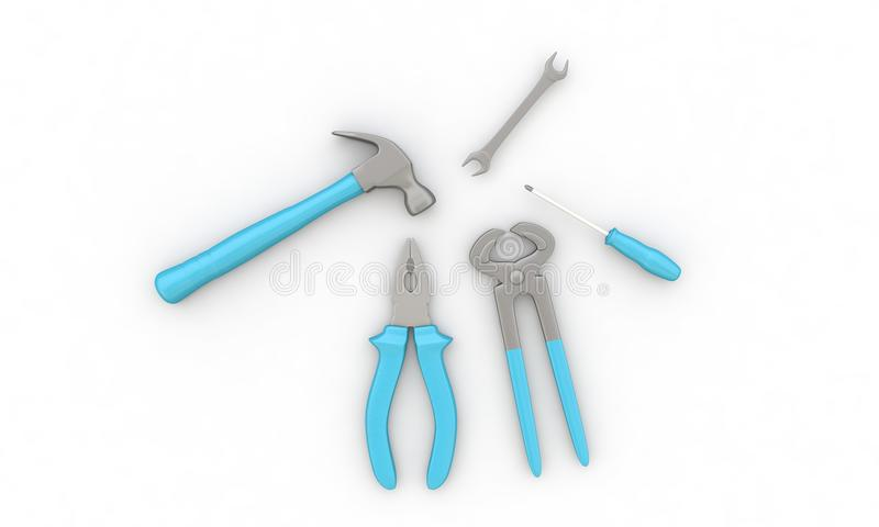 Three-dimensional background study on essential tools royalty free illustration