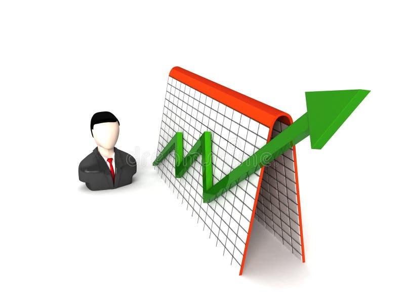 Three dimensional businessman and profit graph. Three dimensional isolated businessman and profit graph stock illustration