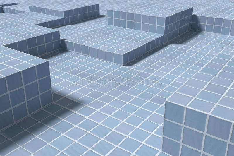 Three-dimensional ceramic cubes on surface. 3d rendering of blue ceramic cubes casting shadow on surface vector illustration