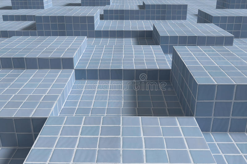 Three-dimensional ceramic cubes on surface. 3d rendering of blue ceramic cubes casting shadow on surface royalty free illustration