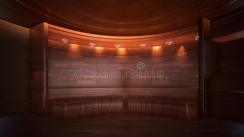 Three-dimensional color background for wooden TV studio 3d rendering vector illustration