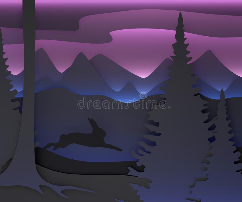 Three-dimensional composition with a running hare. vector illustration