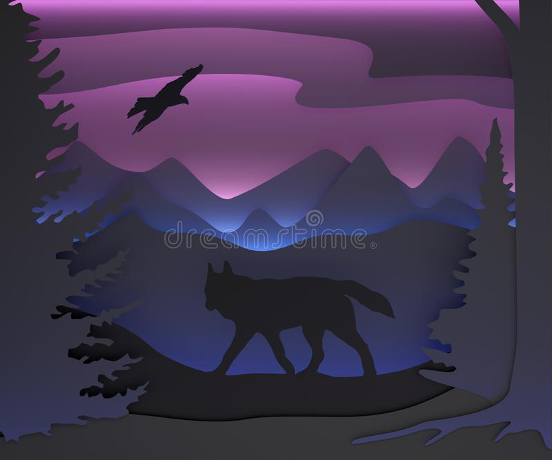 Three-dimensional composition with a wolf and an eagle. Fairy forest. royalty free illustration