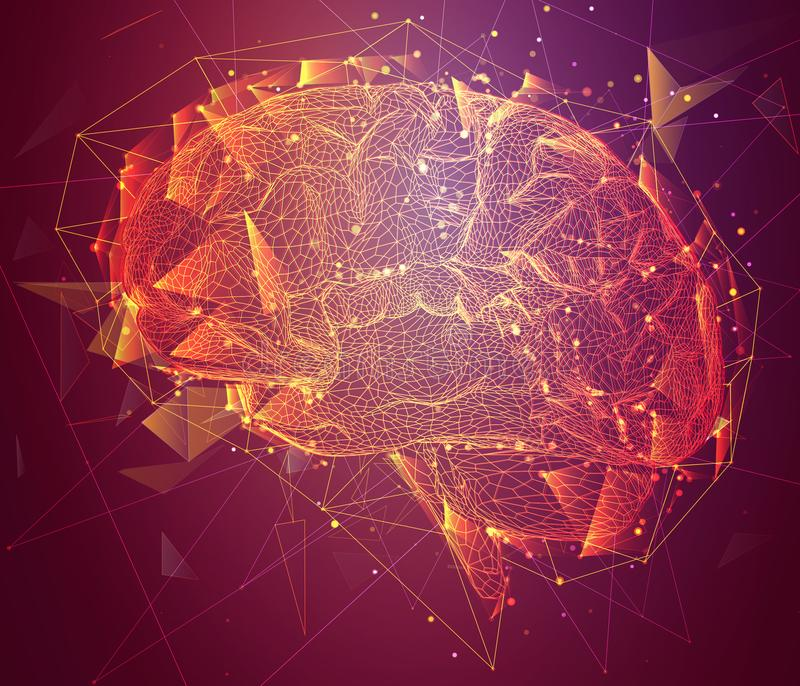 Three-dimensional cyber brain. neural network mega-data p vector illustration