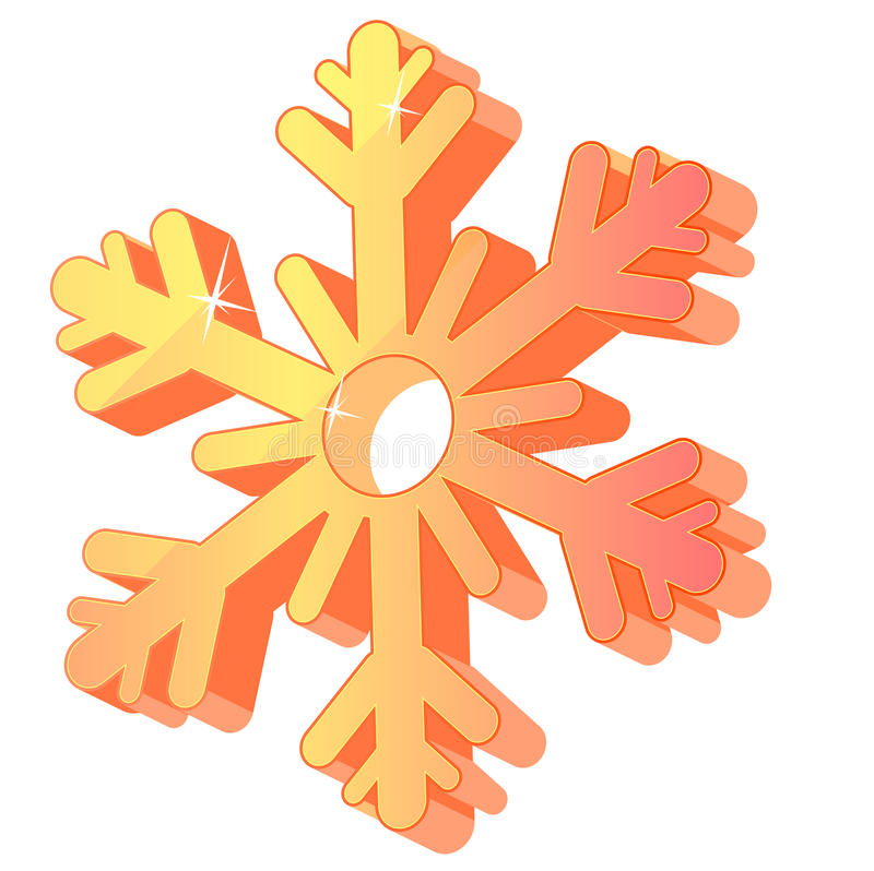 Three-dimensional gold festive snowflake isolated. vector illustration