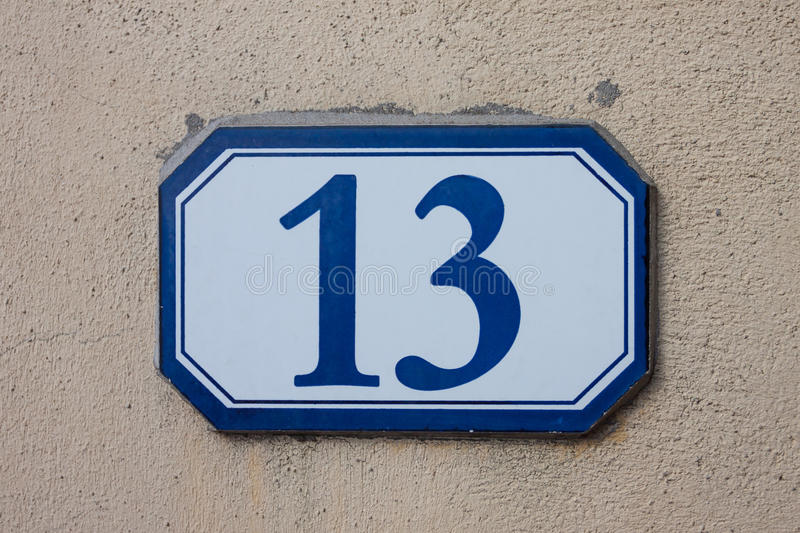 Three dimensional house number thirteen royalty free stock images