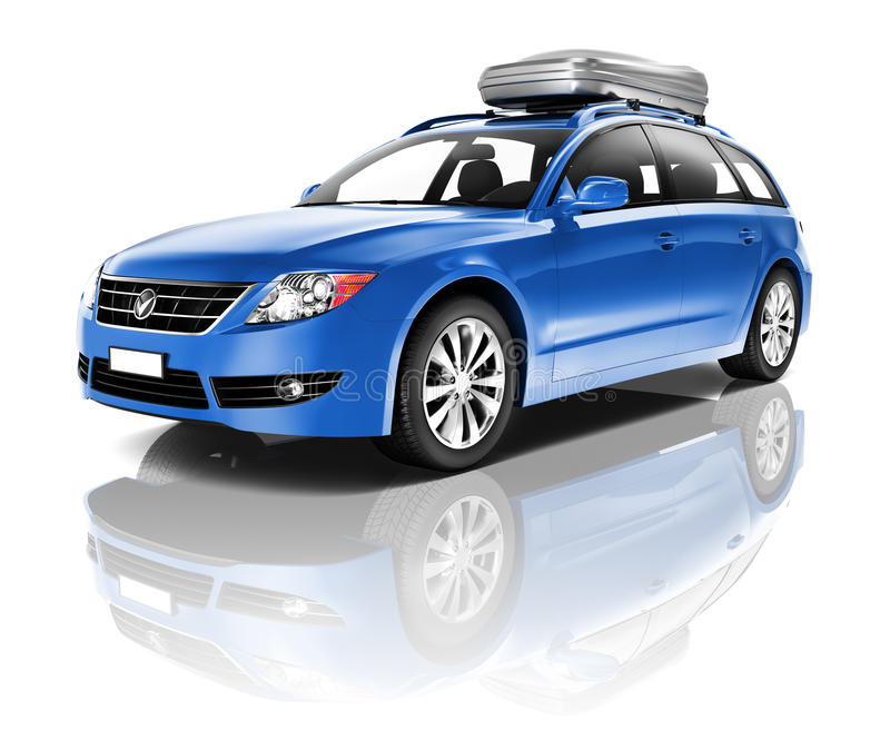 Three Dimensional Image of a Blue Car.  vector illustration