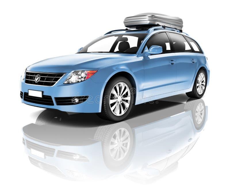 Three Dimensional Image of a Blue Car.  royalty free illustration