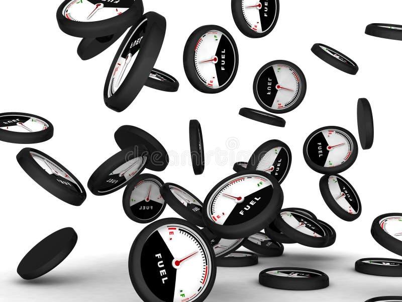 Three dimensional image of a fuel gauge. Isolated three dimensional image of a fuel gauge vector illustration