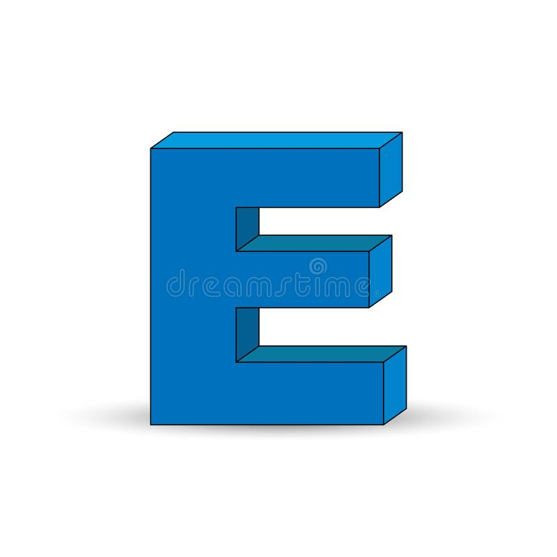Three-dimensional image of the letter E. the Simulated 3D volume. Simple design stock illustration