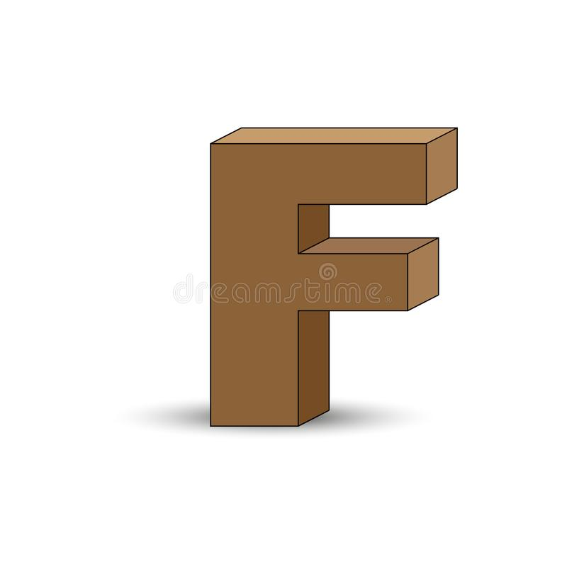 Three-dimensional image of the letter F. the Simulated 3D volume. Simple design stock illustration