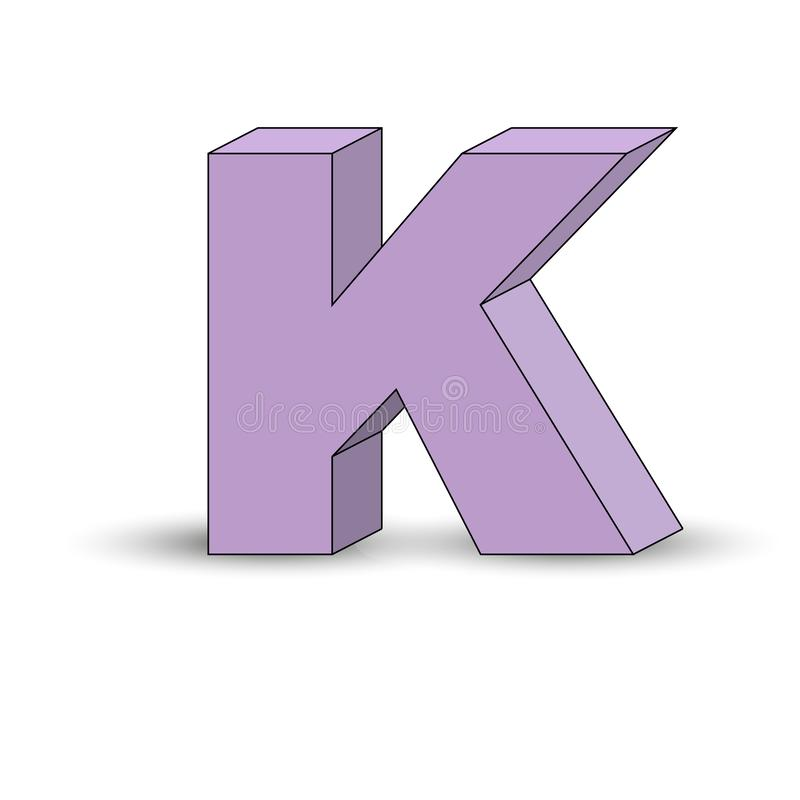 Three-dimensional image of the letter K. the Simulated 3D volume. Simple design vector illustration