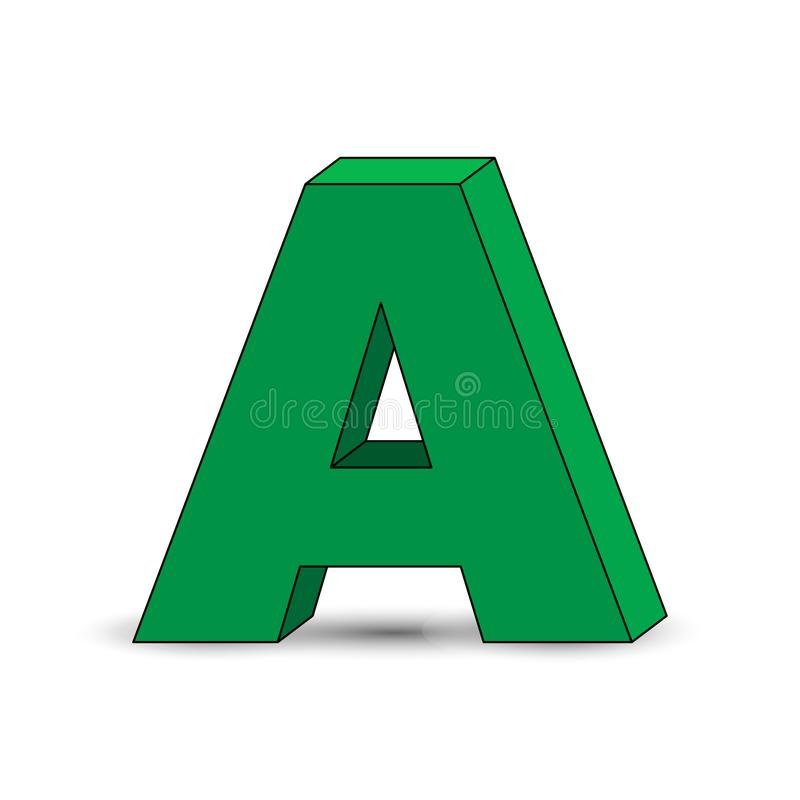 Three-dimensional image of the letter A. the Simulated 3D volume. Simple design stock illustration