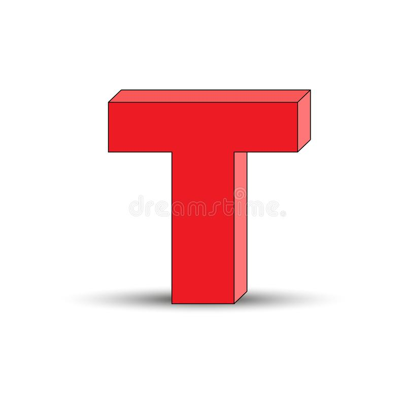 Three-dimensional image of the letter T. the Simulated 3D volume. Simple design royalty free illustration