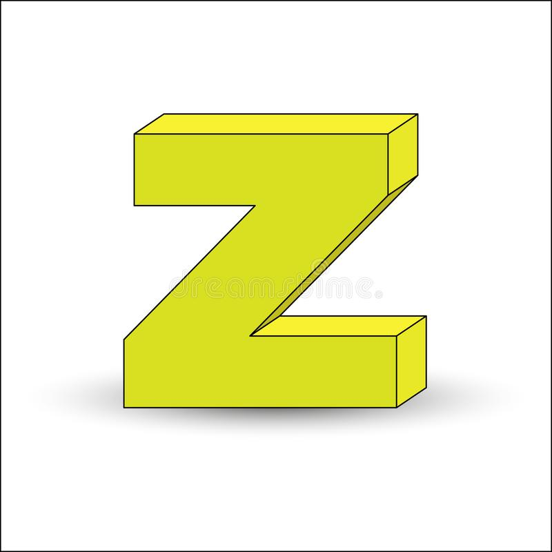 Three-dimensional image of the letter Z. the Simulated 3D volume. Simple design royalty free illustration