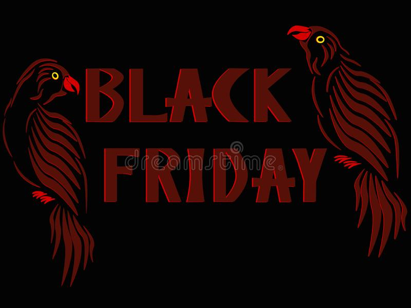 Three-dimensional image of red parrot on both sides of labels Black Friday. vector illustration