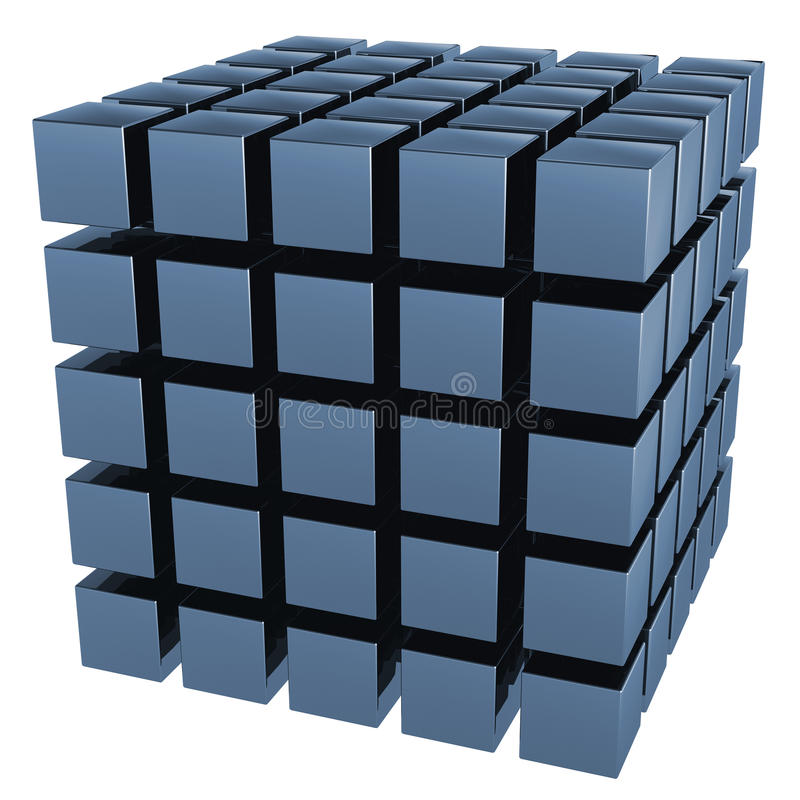 The three-dimensional image of a set of cubes. It is isolated on a white background royalty free illustration