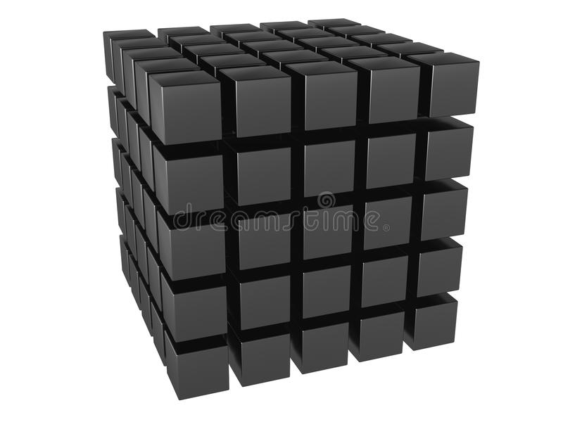 The three-dimensional image of a set of cubes. It is isolated on a white background vector illustration