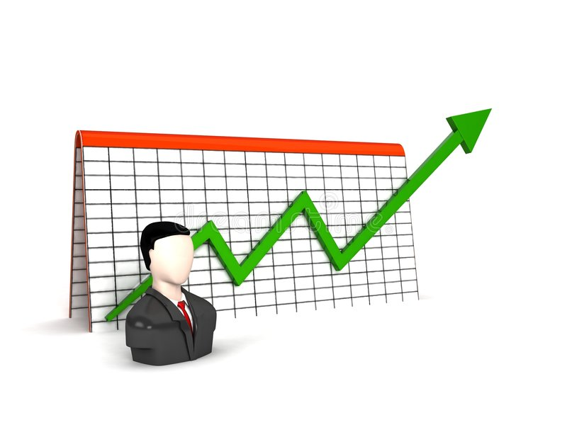 Three dimensional man with profit graph. On an isolated background royalty free illustration