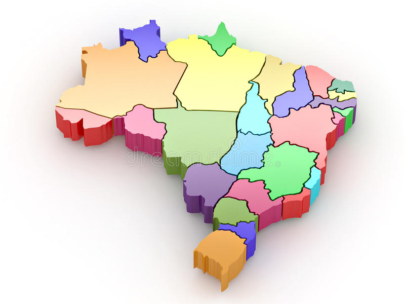 Three-dimensional map of Brazil. 3d royalty free illustration
