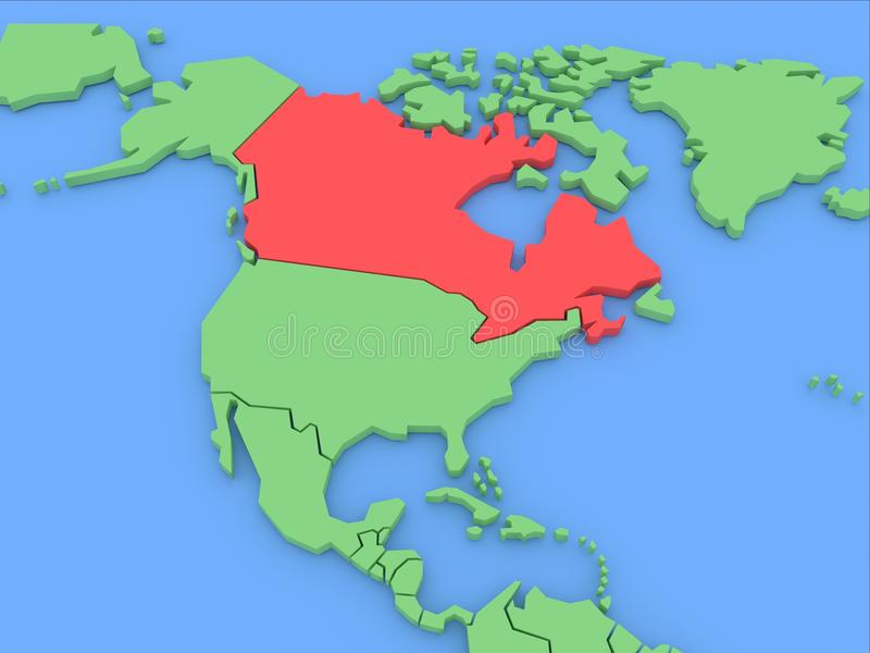 Download Three-dimensional Map Of Canada Isolated. 3d Royalty Free Stock Photography - Image: 22681957