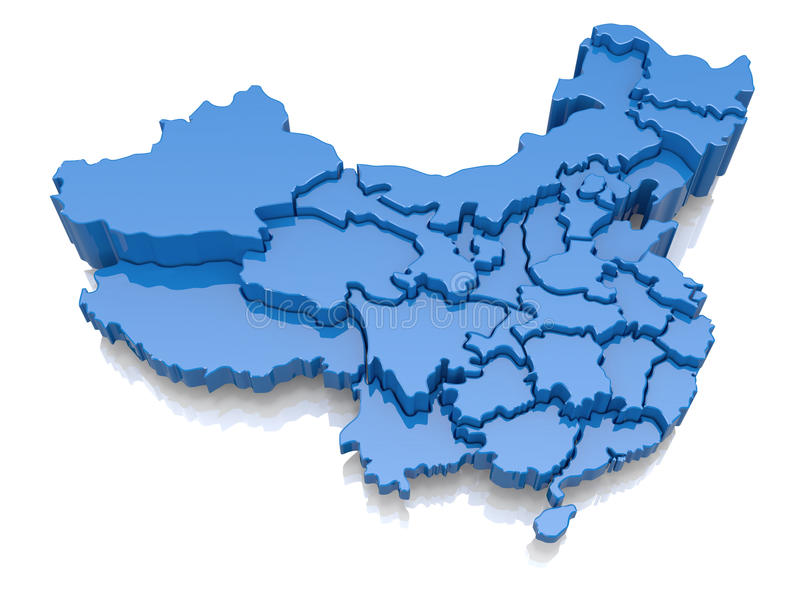 Three-dimensional map of China. On white background. 3d vector illustration