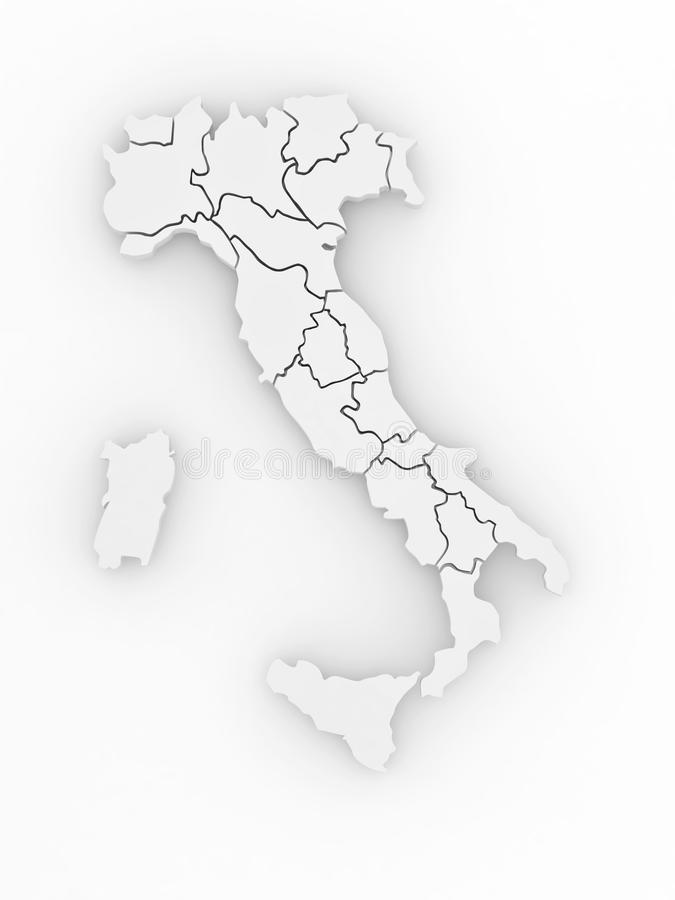 Download Three-dimensional Map Of Italy. 3d Stock Illustration - Illustration of isolated, province: 17711574