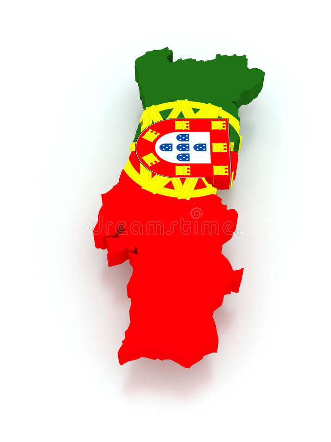 Three-dimensional map of Portugal. 3d stock illustration