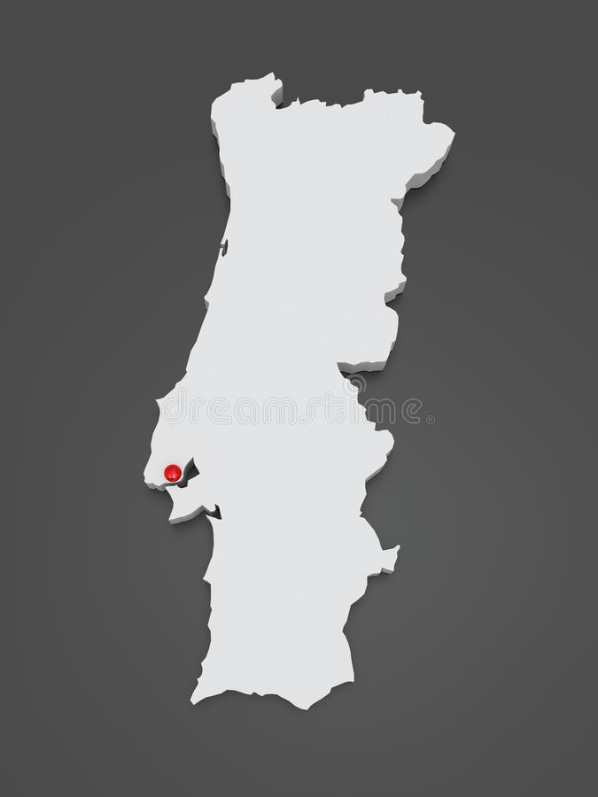 Three-dimensional map of Portugal. 3d royalty free illustration