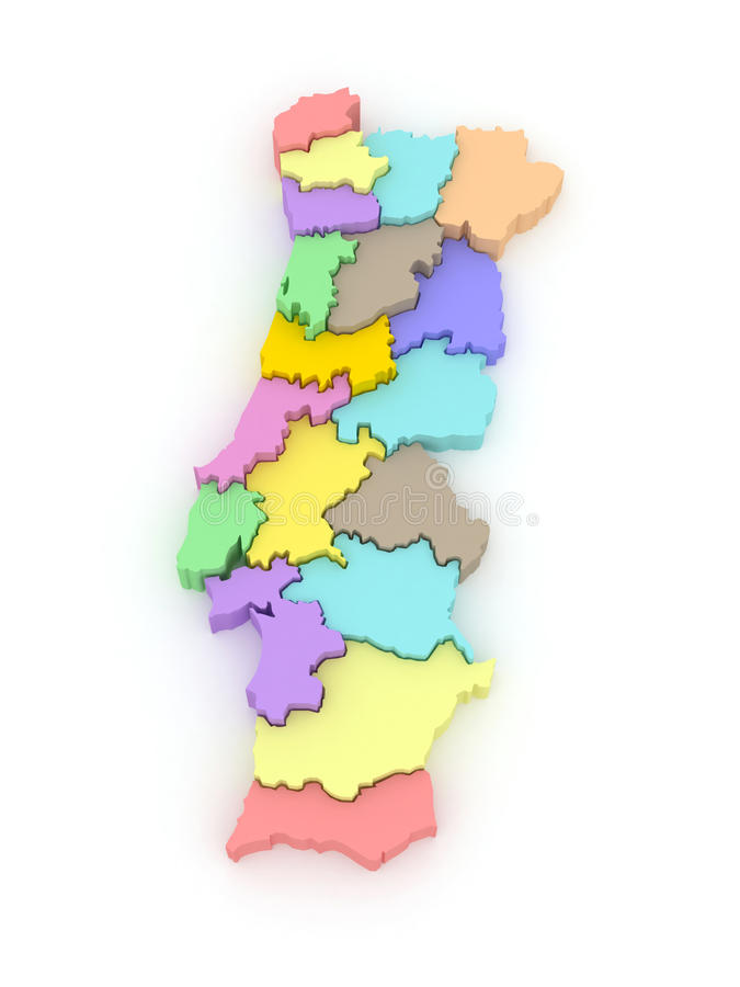 Three-dimensional map of Portugal. 3d vector illustration