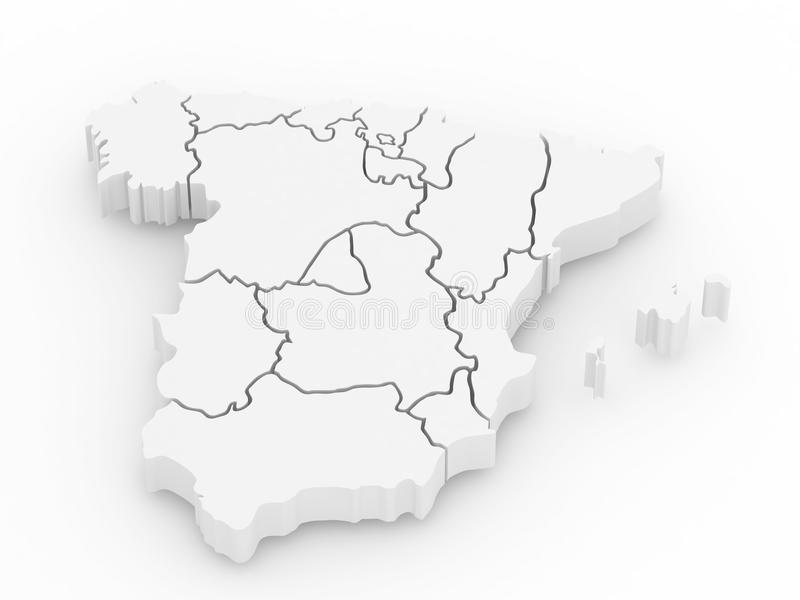Three-dimensional map of Spain. 3d royalty free illustration
