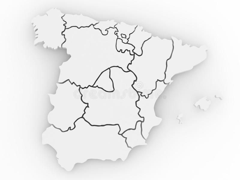 Download Three-dimensional Map Of Spain. 3d Royalty Free Stock Photo - Image: 17711565