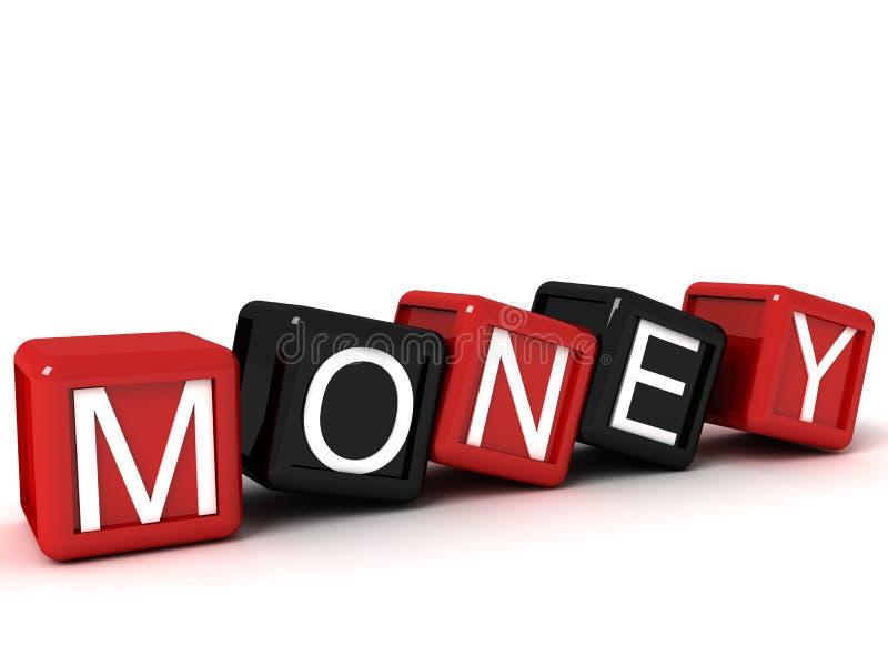 Three dimensional money text on building blocks stock illustration