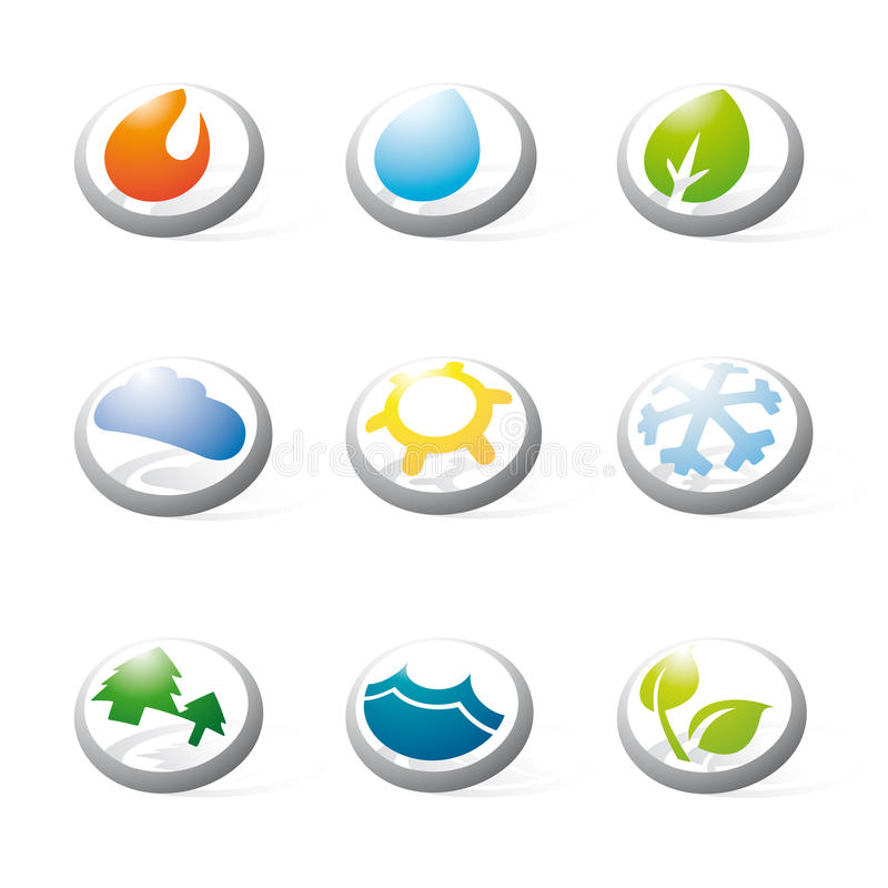 Three-dimensional Nature, Energy and Environment Symbols Collect. Collection of nine three-dimensional circular icons related to nature, weather, energy and vector illustration