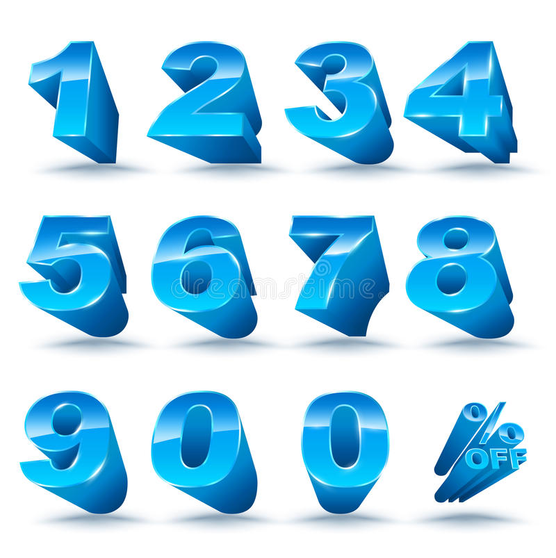 Three-dimensional number set 0-9 with percent off. vector illustration