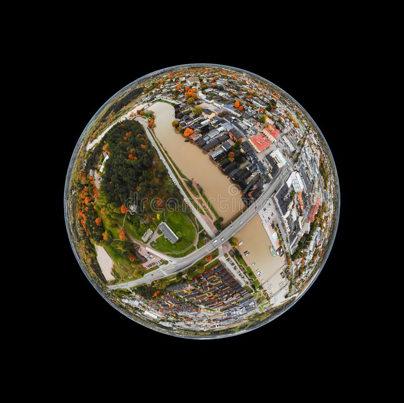 A three dimensional panoramic aerial view of the Old town of Porvoo, Finland in a mini planet panorama style.  royalty free stock photos