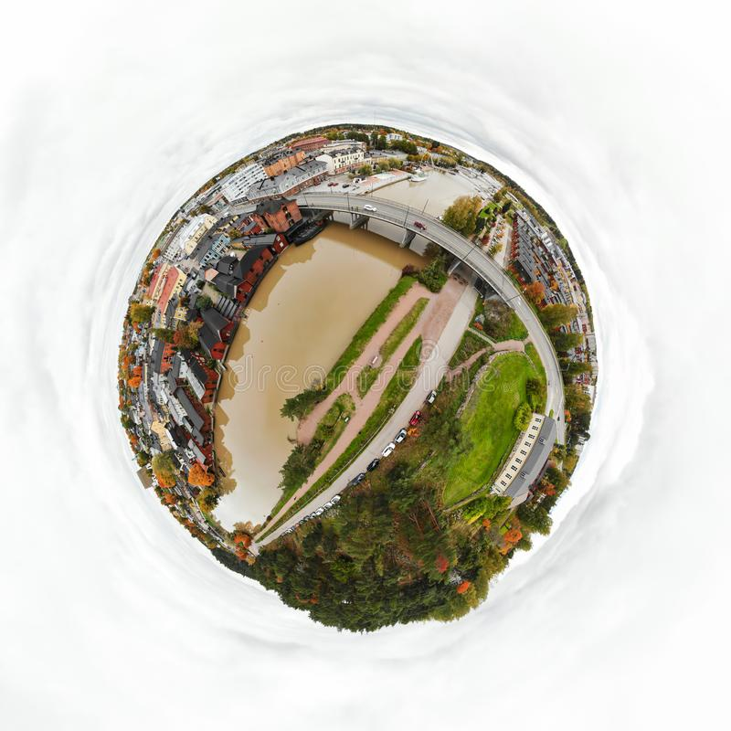 A three dimensional panoramic aerial view of the Old town of Porvoo, Finland in a mini planet panorama style.  royalty free stock photography