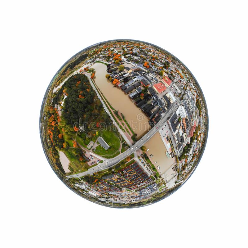 A three dimensional panoramic aerial view of the Old town of Porvoo, Finland in a mini planet panorama style.  stock images