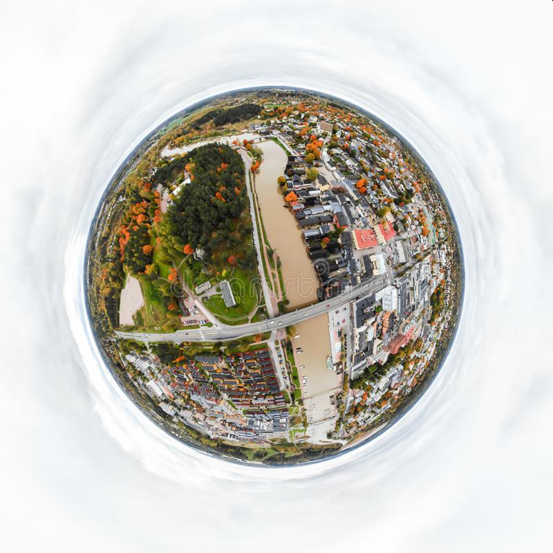 A three dimensional panoramic aerial view of the Old town of Porvoo, Finland in a mini planet panorama style.  royalty free stock photo