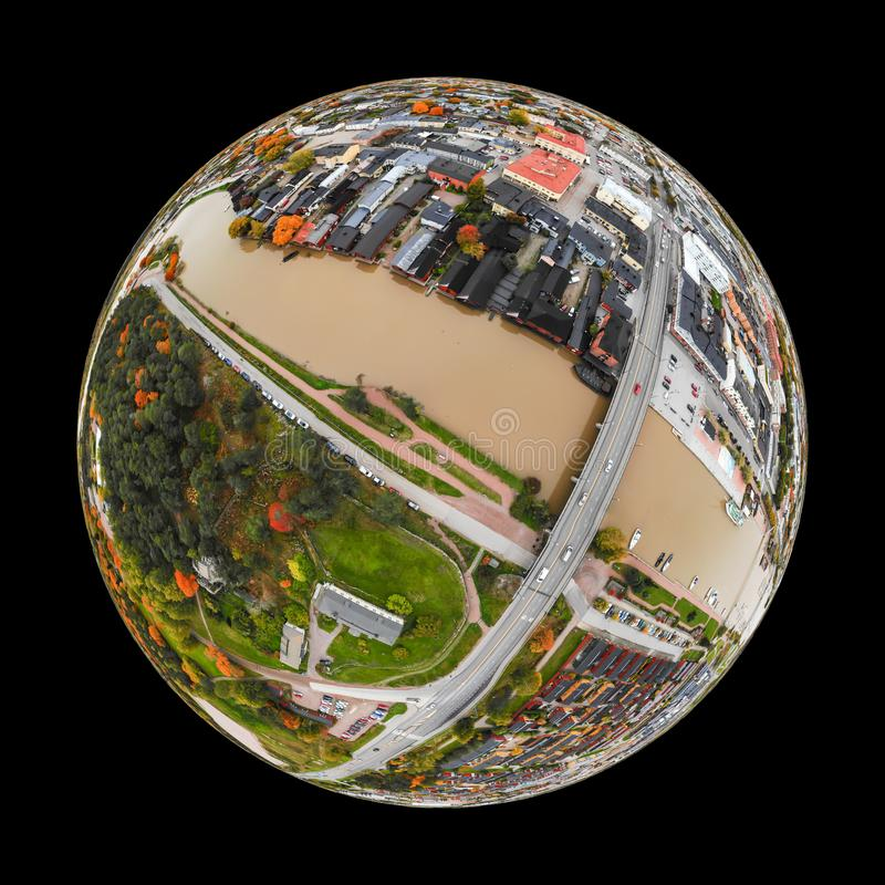 A three dimensional panoramic aerial view of the Old town of Porvoo, Finland in a mini planet panorama style.  royalty free stock image